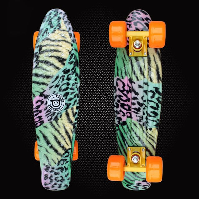 "New 2019 Mini Cruiser Space Graphic Printed Plastic Skateboard 22"" X 6"" Retro Longboard Skate Long Board Deck Skate Board PD07"