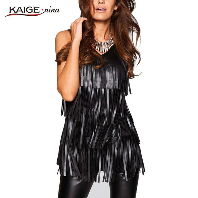Kaige.Nina Woman Solid tank Plus Size Fashion Women Sleeveless Sexy Black PU Leather Tassel Blouse  V-Neck 2270a