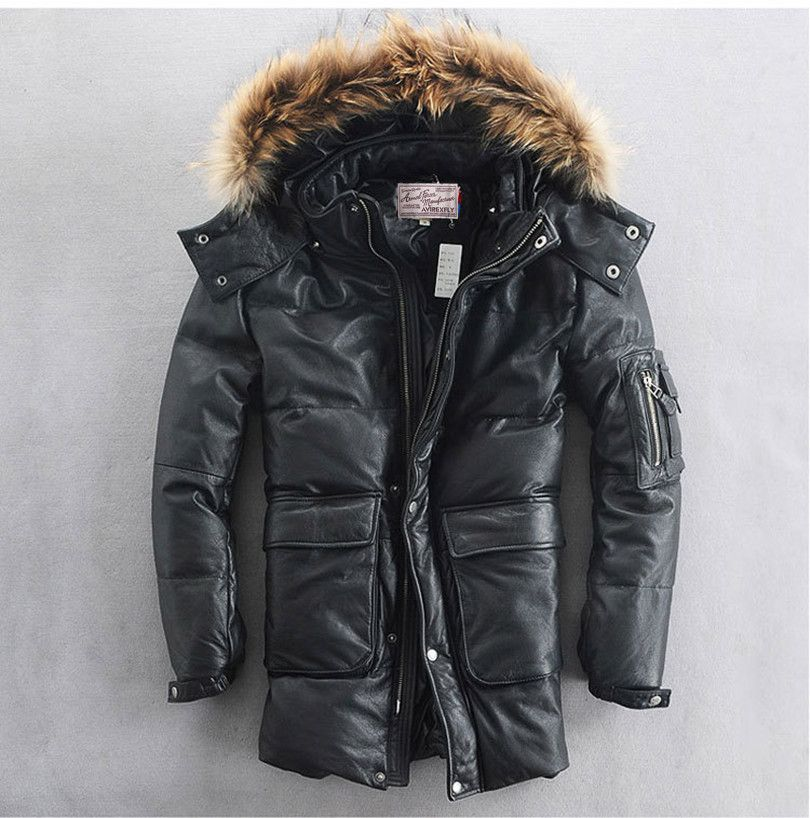 Fur hooded leather down jacket men plus size thick cowskin white duck down leather coat male black winter leather jacket men