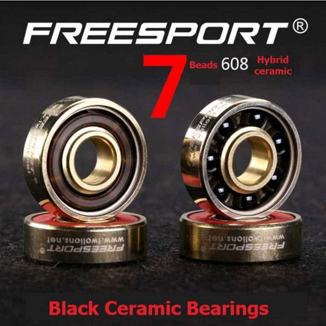 8PCS FreeSport 608 ABEC-7 Black Ceramic Bearings 8*22*7mm Use For Longboard Roller Skates Stunt Scooter Wheels Bearings