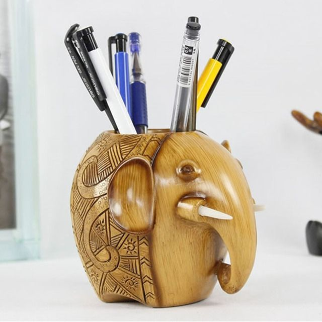Kawaii Cartoon Elephant Pencil Holder Creative Wood Classic Stand Pen Storage Container Brushes Cosmetic Home Craft Decorations