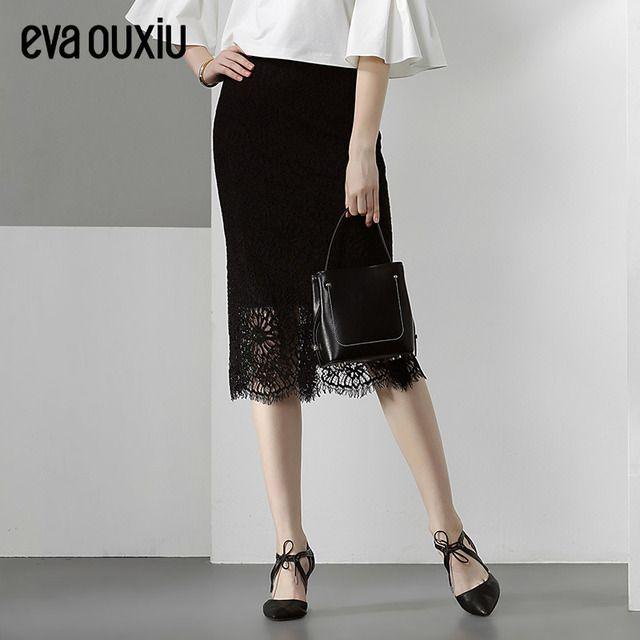 Evaouxiu New Women Vintage Lace Skirt Brief OL Formal Pencil Skirt Package Hip Solid Color Black