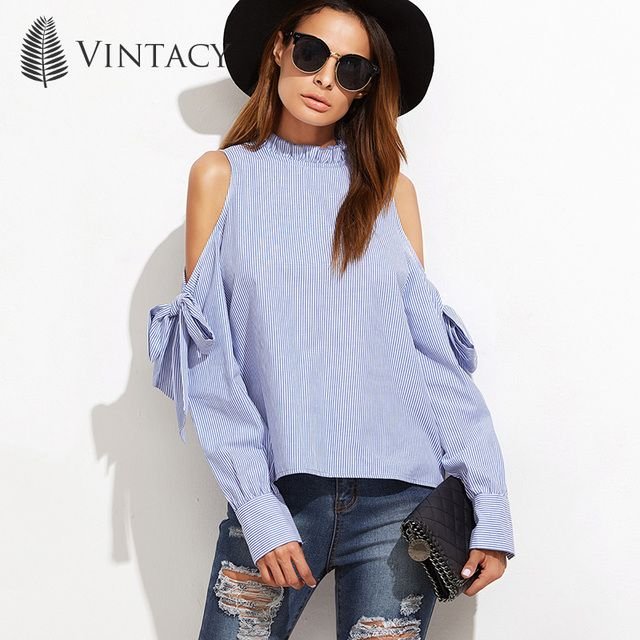 Vintacy plus size women blue strip blouse cheap clothes china shirt 2017 long sleeve spring summer blouses casual shirt tops