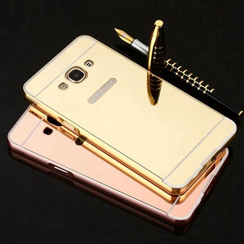 Ultra thin mirror acrylic hard case for samsung galaxy J1 J3 pro J5 J7 prime 2015 2016 A5 A7 2017 metal aluminum bumper cover