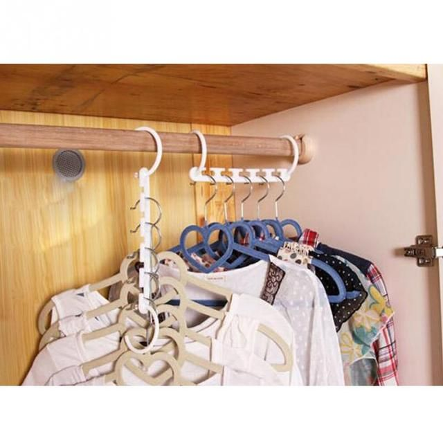 Plastic Magical Hangers Set, 8pcs Household Clothes Storage Hangers, Space Saving Hanger