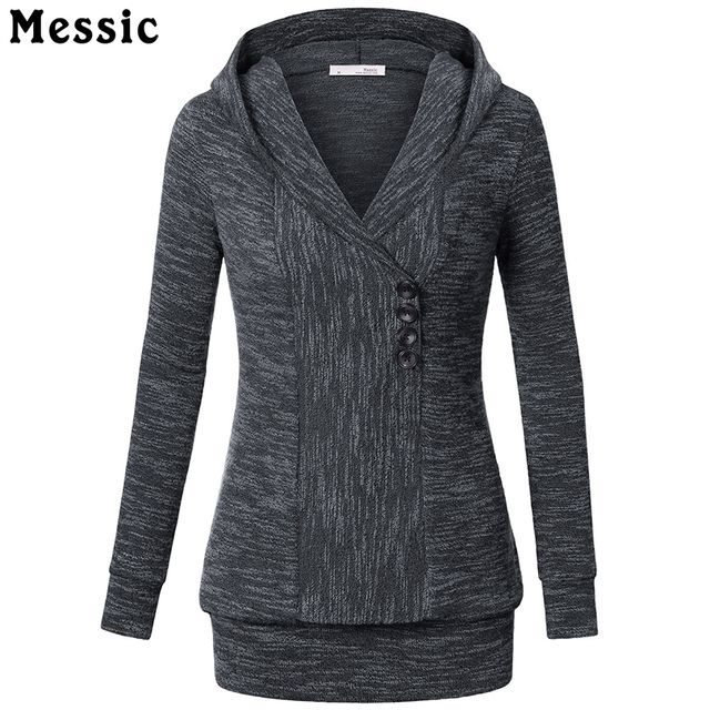 Messic Women Hoodies and Pullovers New 2016 Sweatshirt Women Autumn Spring Casual Hoodies With Button Ladies Tracksuit Cotton