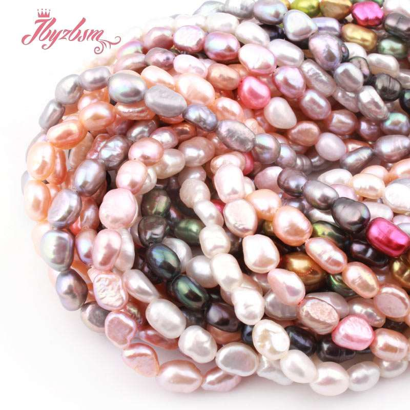 4-6x5-8mm Freshwater Pearl Freeform Shape Loose Natural Stone Beads For Necklace Bracelet Jewelry Making Spacer Strand 15""