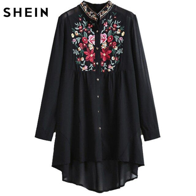 SHEIN Women Tops Fashion Stand Collar Long Sleeve Floral Embroidered Dipped Hem European Brand Spring Black Vintage Blouse