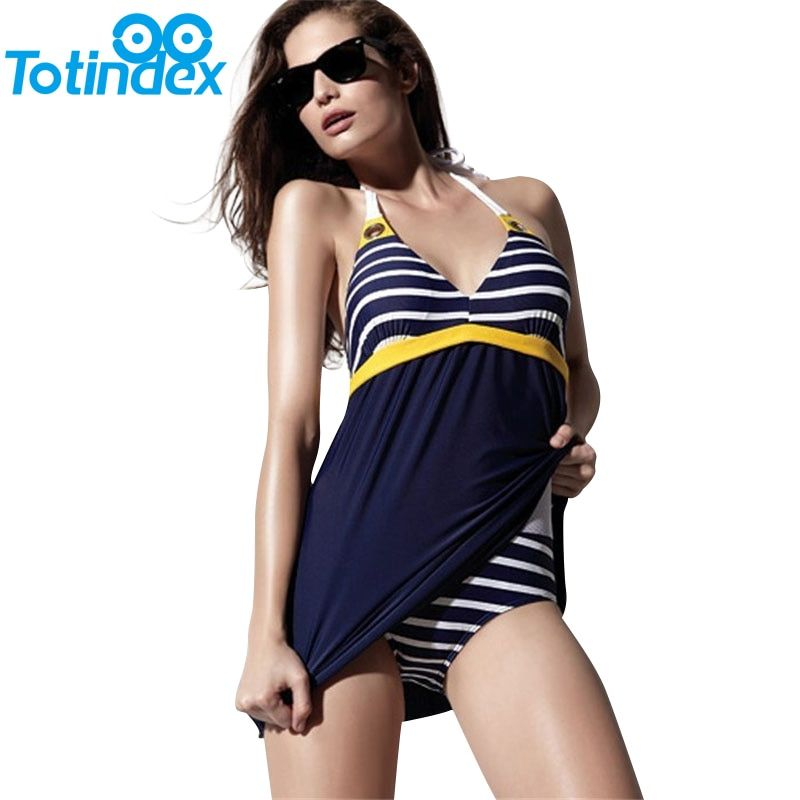 New Sexy Stripe Plus Size Padded Navy Blue Halter Skirt Swimwear With Stripes Underwear Women Sexy One Piece Swimsuit Beachwear