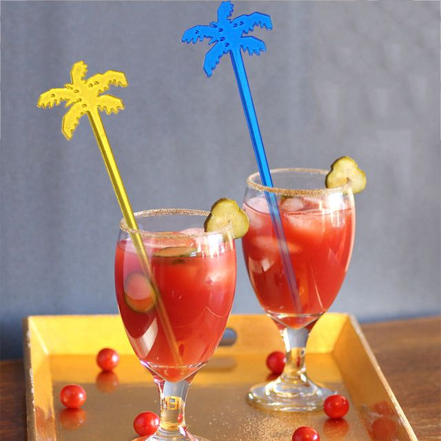 50pcs Coconut Tree Cocktail Swizzle Sticks Drink Stirrer Coffee muddler puddler Plastic Night-club Drink/wine Decor