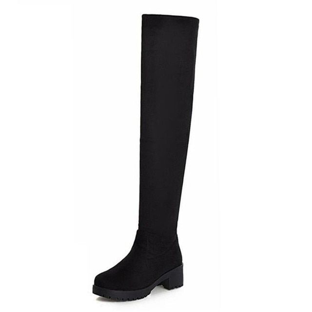 Boots Women Shoes Stretch Long Over The Knee Boots Womens Winter Booties Thigh High Boots Heeled Shoe Woman Boots Red Booties