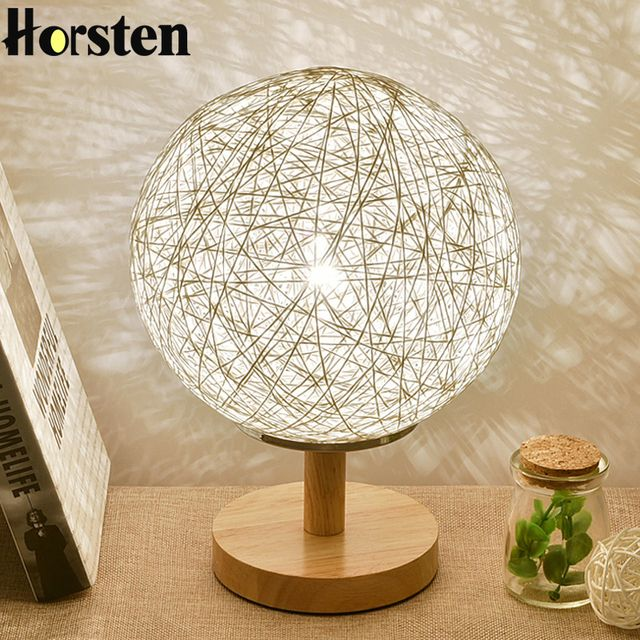 Horsten 220V EU Plug Table Lamp Rattan Ball Design Night Light Country Style Takraw Bedside Lamp For Bedroom Living Room