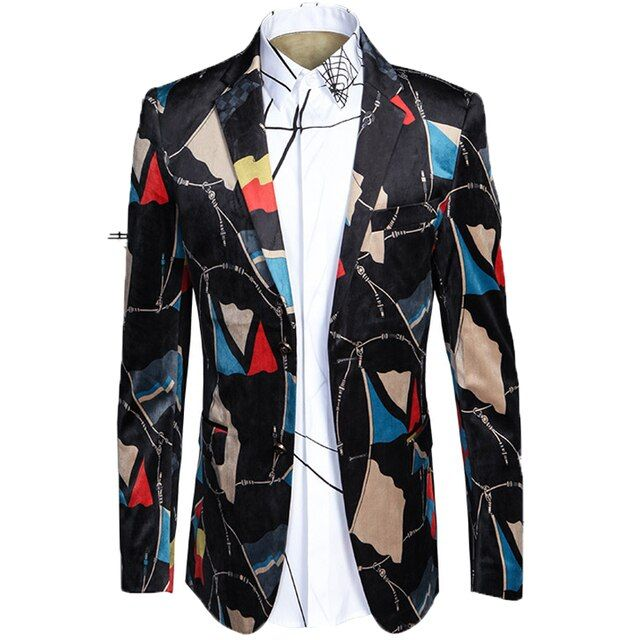HOT! Luxury 2017 new arrival Italian style printed velvet casual blazer men blazer masculin,jacket men plus-size M-L-XL-XXL-XXXL