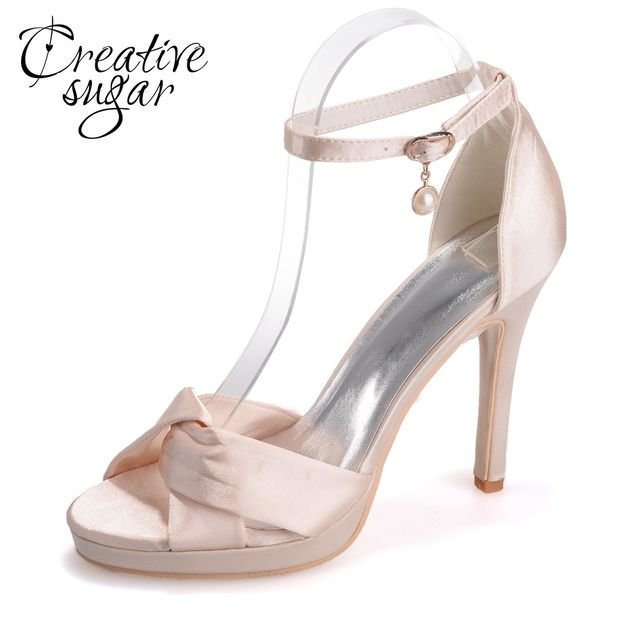 Creativesugar soft satin crossed bands strap wedding sandals ankle strap heels platform summer satin dress shoes covered heel