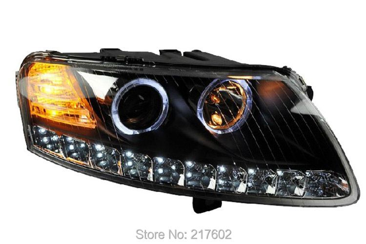 for Audi A6L led headlights 2005-2008 with Angel Eye Black housing Low beam dual lens D1S bulb High light H1 for HID model only