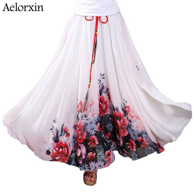 aelorxin 2017 long tulle skirt vintage women High quality chiffon fashion printing summer maxi skirt Feather belt faldas mujer