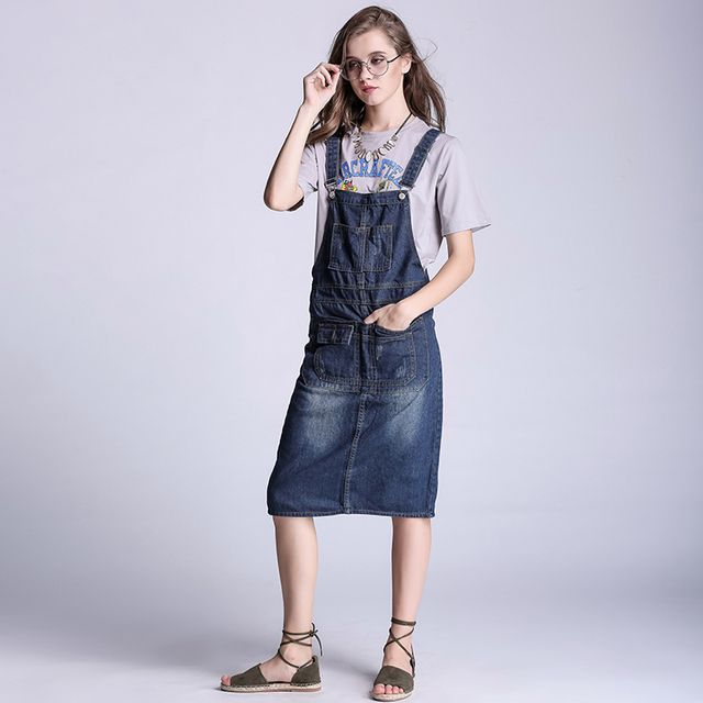 Fashion Plus Size S-5XL Denim Jumpsuit skirt Dark blue button suspenders jumpsuit women casual jeans skirt overalls rompers