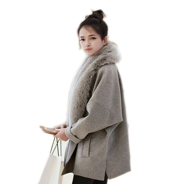 2016 Faux Fur Collar New Fashion Women Winter Woolen Coat Women Loose Overcoat Elegant Ladies Parka Solid Grey Manteau Femme