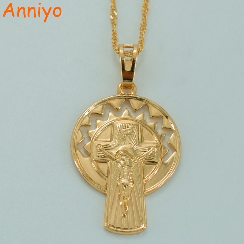 Anniyo INRI Jesus Cross Necklaces for Women's,Gold Color Christian Pendant Chain Christianism Crosses Jewelry #035804
