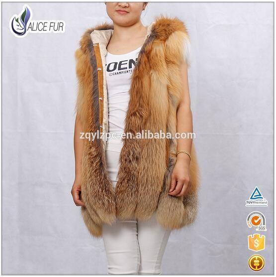 High Quality Women Fox Fur Vest Sleeveless Hooded Natural Genuine Luxury Red Fur Coats Warm Thick Solid Long Real Furs Outerwear