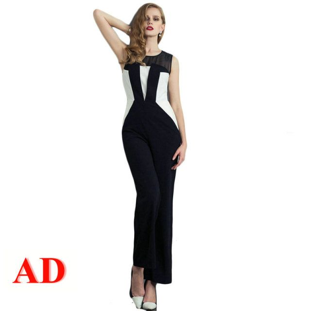 AD Women's Classic Black and White Chiffon Straight Leg Jumpsuit