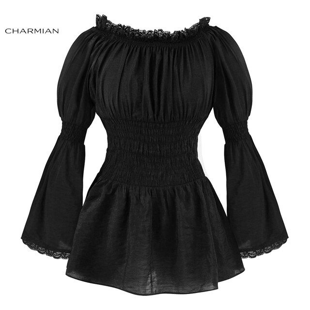 Charmian Autumn Off Shoulder Top Vintage Gothic Victorian Blouse Lolita Long Flare Sleeve Lace Top Plus Size Women Clothing