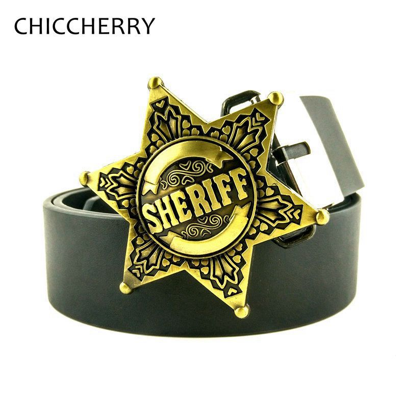 Mens Casual Belts Cowboy Style PU Leather Belts with Zinc Alloy Metal Belt Buckle Sheriff Star Country Western Belt Buckles