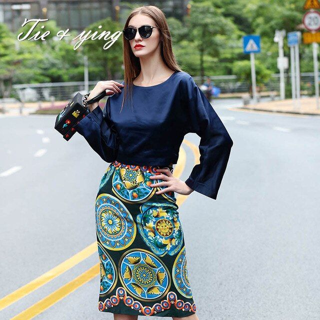 2015 spring women's brands runway set  America and Europe star Silk satin blouse +print skirt white/blue fashion ladies suit