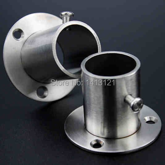 free shipping 19mm thick stainless steel pipe flange socket lengthened clothes rod holder fitting furniture bracket hardware