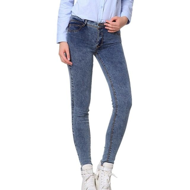 2016 Women Snowflake Casual Slim Vintage Denim Dark Light Blue Jeans Stretch Skinny Female Mid Waist Elastic Pants Plus Size