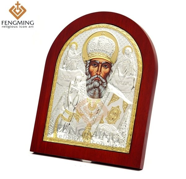 31*26.5cm Byzantine Orthodox greek Silver icon of  Saint Nicholas on  wood religious wall decoration baptism gifts