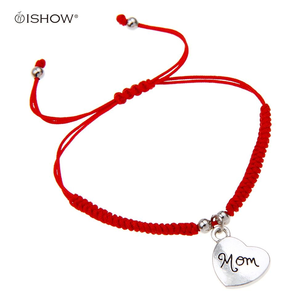Simple Design heart bracelets Handmade Red Rope Braided Silver Love Heart Mom Charm Wrap Bracelet On Mother's Day gift Women