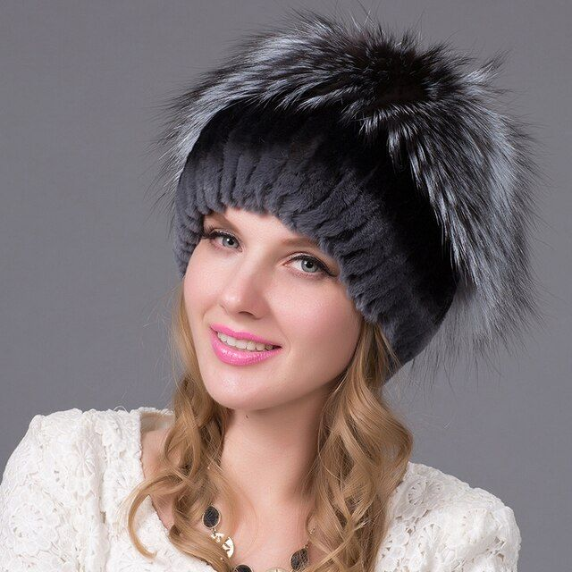 2016 new brand causal good quality cap Winter Rex rabbit fur hat for women with fox fur knitted beanies fur hat send gift THY-27