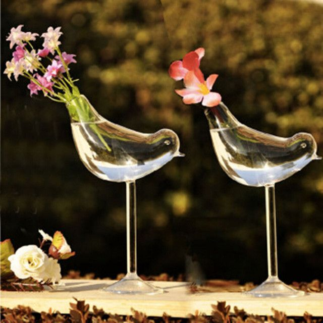 Creative tall bird vase glass vase Home Decoration hotel decor flower containers wedding decoration gift Couple gifts