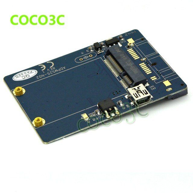 2 in 1 USB 2.0 to mini PCI-e slot card as mini PCIe Card Test Tool + mSATA SSD to SATA Converter