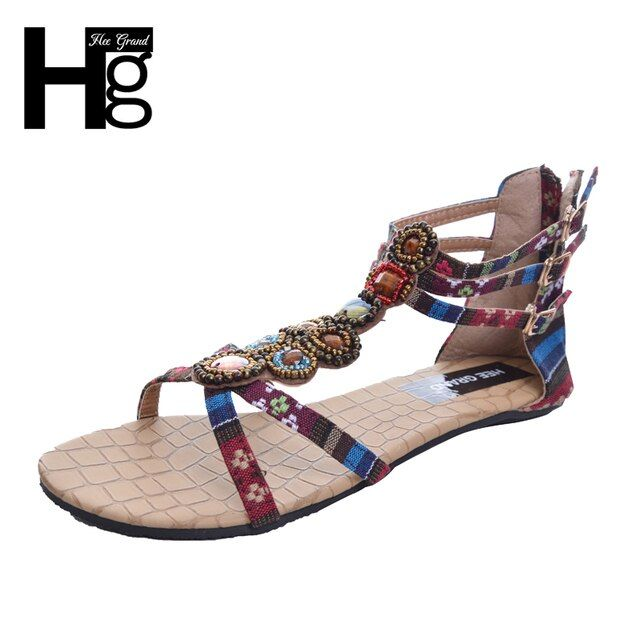 HEE GRAND Summer Style Ethnic Women Sandals 2017 Bohemian Fashion Beading Pu Printed Casual Flat with For Woman XWZ797
