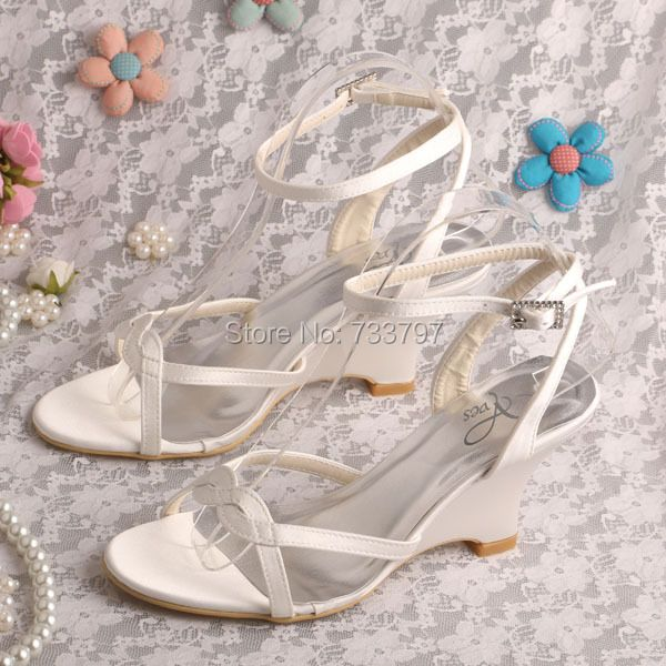 Wedopus MW308 Ivory Ankle Strap Wedding Sandals for Women Shoes Summer Wedge Heels