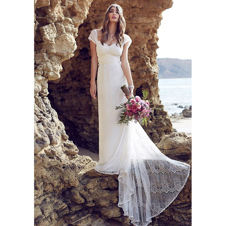 2017 Anna Lace Beach Wedding Dresses Cap Sleeves Low Back Bohemian Bridal Marriage Dresses Boho Bridal Gown