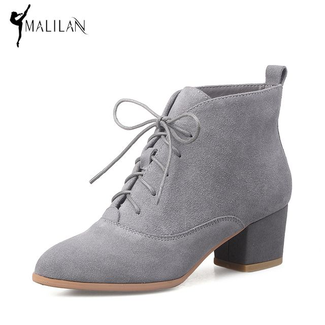 MALILAN 2017 Spring Fashion Lace UP Ankle Boots for Women High Heels Genuine Leather Suede Boots Chunky Heel Shoes Woman