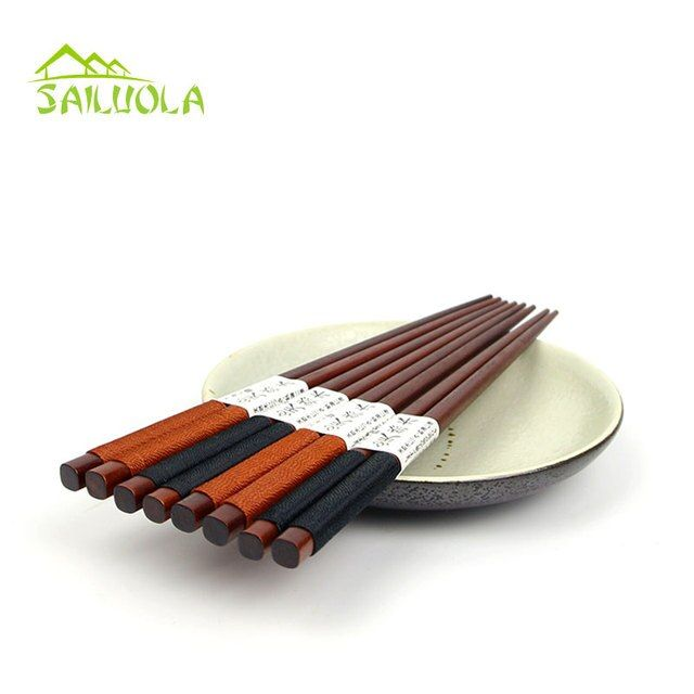 5 Pairs Japanese Chopsticks Wood Food Sticks Japan Sushi Tools Chinese Learn Chop stick Wooden Tableware
