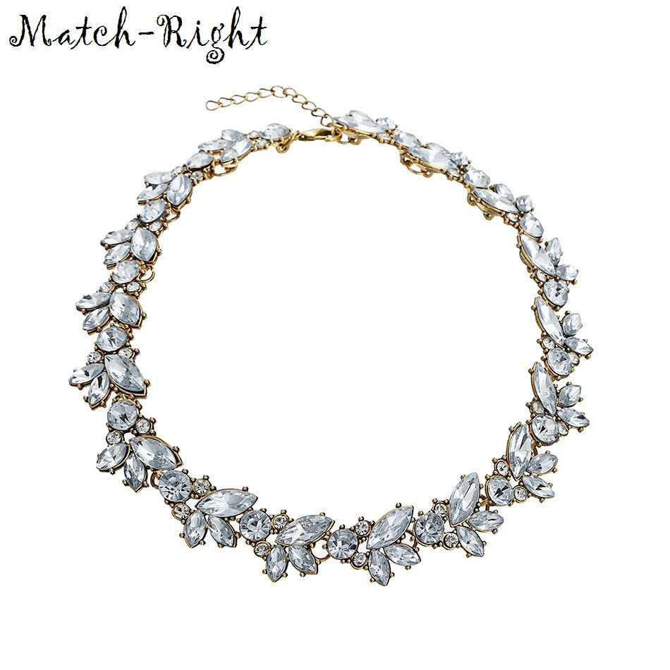 Match-Right 2015 Rhinestone Women Chokers Necklace New Arrival Necklaces Pendants Fashion Statement Necklace Jewelry Trends