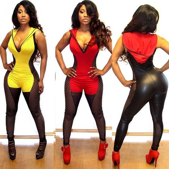 bodycon jumpsuit 2016 sexy club jumpsuits new V-neck fishnet artificial leather patchwork rompers womens jumpsuit with hat