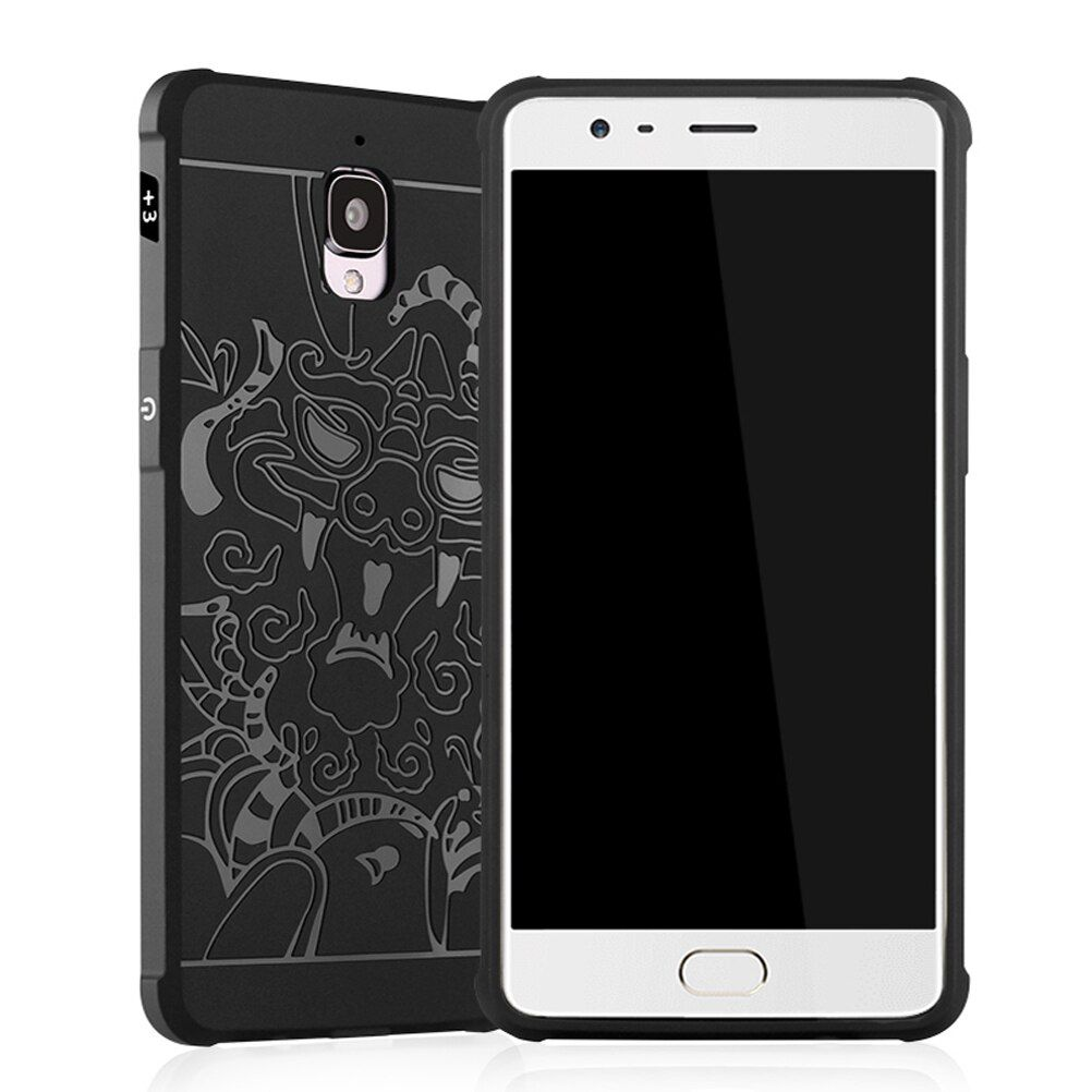 Luxury Phone Case for One plus 3 Cover Oneplus 3 Case Silicone Soft back for Oneplus3 Oneplus 3T Three Dragon Black Cool Cover