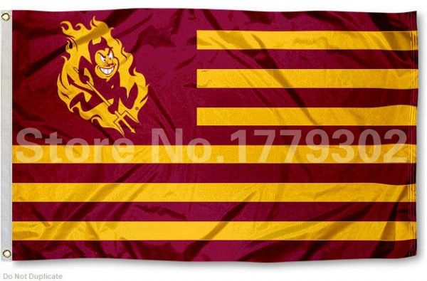Arizona State University  Flag 3 ' X 5 ' Fan bandera 150 X 90 CM bandera de cobre amarillo del metal agujeros Flag