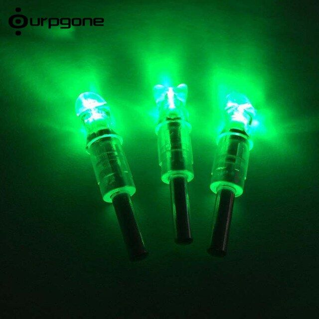 Ourpgone 3pcs ID 7.6mm Lighted Nocks LED Lighted Arrow Nock For Hunting Shooting Recurve Bow Crossbow Compound Bow