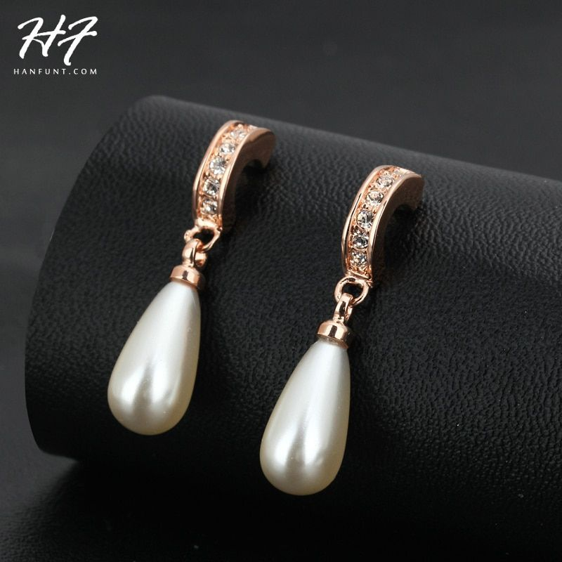 Top Quality Elanget Water Drop Imitation Pearl Rose Gold Color Earring Austrian Crystal Jewelry For Women HotSale  E446