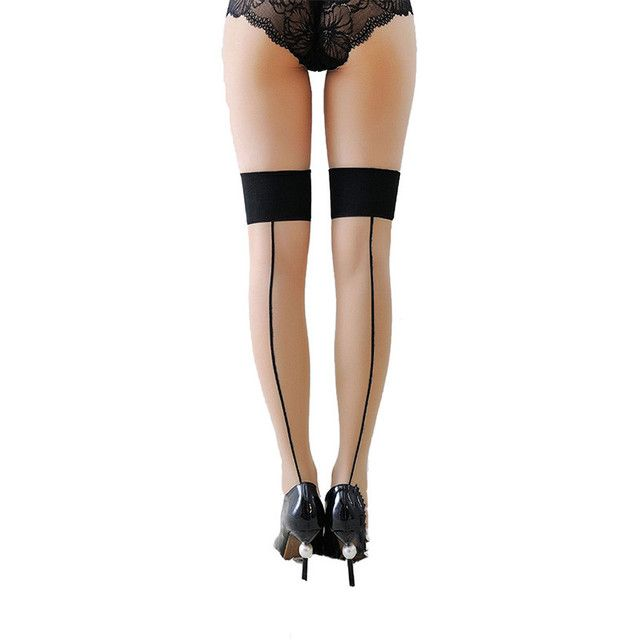 Fasbys Punk Gothic Women's Sexy Pantyhose Cuban Heel Back Seam Stockings Beige Wide Lace UP Thigh High Medias Lingerie Costumes