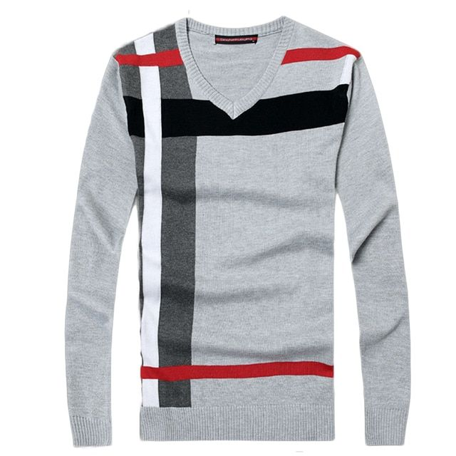 2016 New Autumn Fashion Brand Casual Sweater v-Neck Striped Slim Fit Knitting Mens Sweaters And Pullovers Men