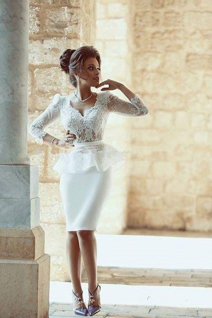 Amazing White Short Cocktail Dresses with 3/4 Sleeves Beautiful Knee Length Lace Party Gowns Sheer Design Formal Gown Hot Sale