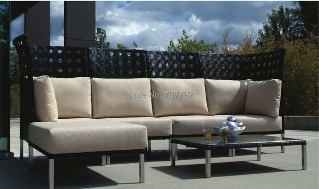 Top Sale High Back Outdoor Furniture Poly Rattan 4 Seater Patio Sofa Set